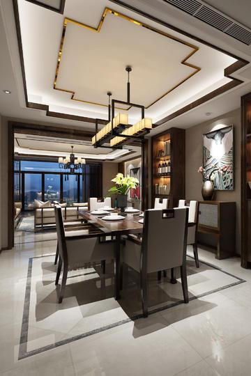 中式餐厅吊顶装修效果图
