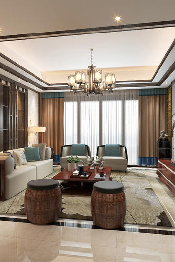 新中式客厅装修设计效果图