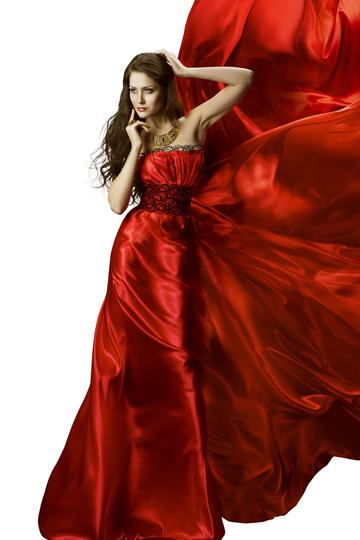 穿红色长裙的欧美气质美女模特