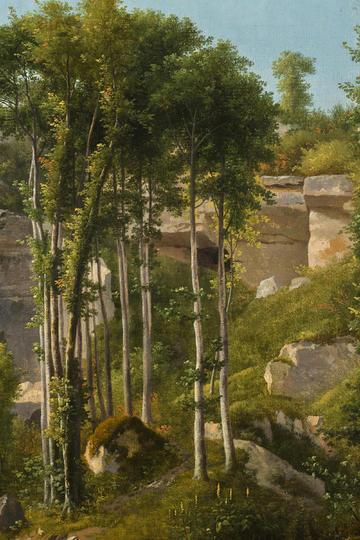 小树林风景油画图片