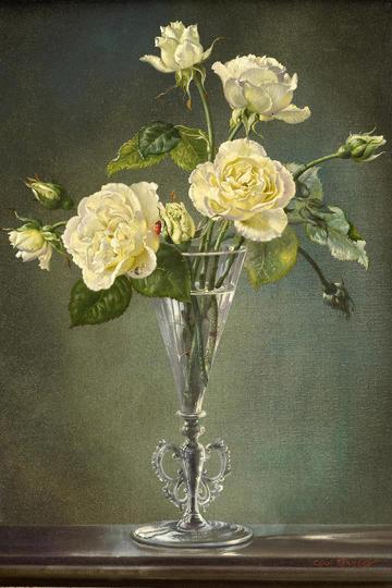 插在玻璃瓶里的白色鲜花静物油画花卉图片