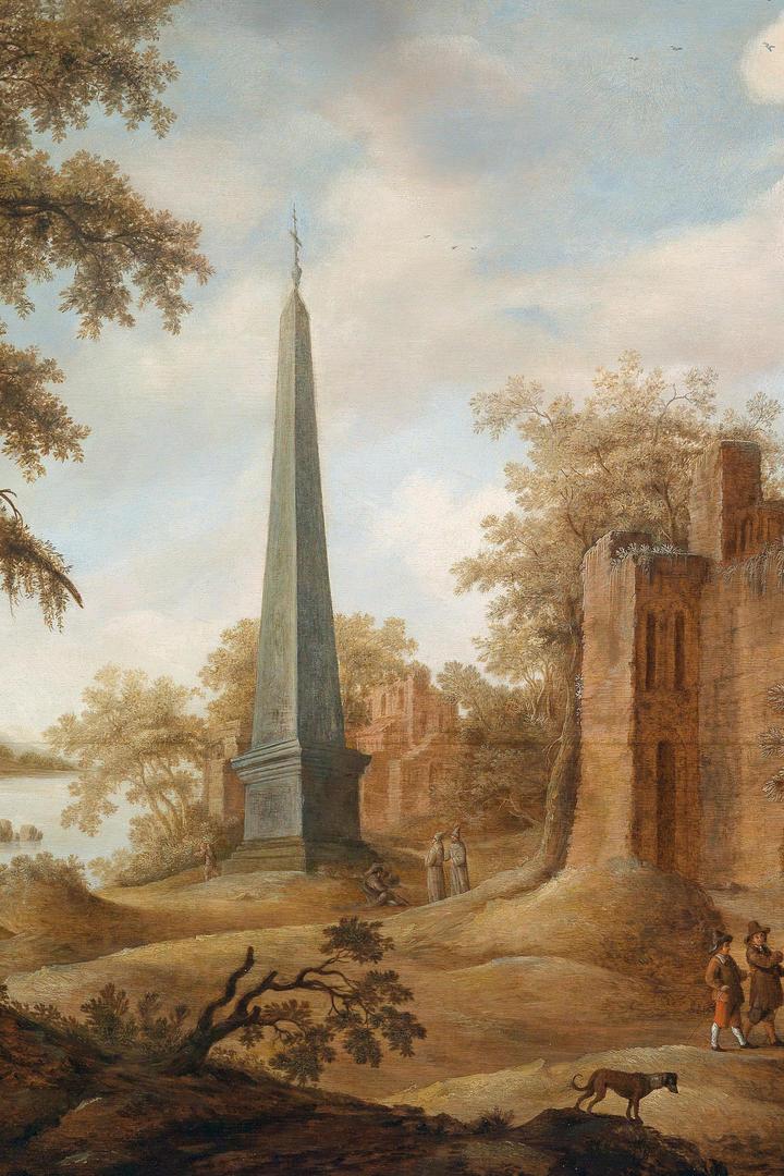 有尖塔的欧美乡村风景油画图片