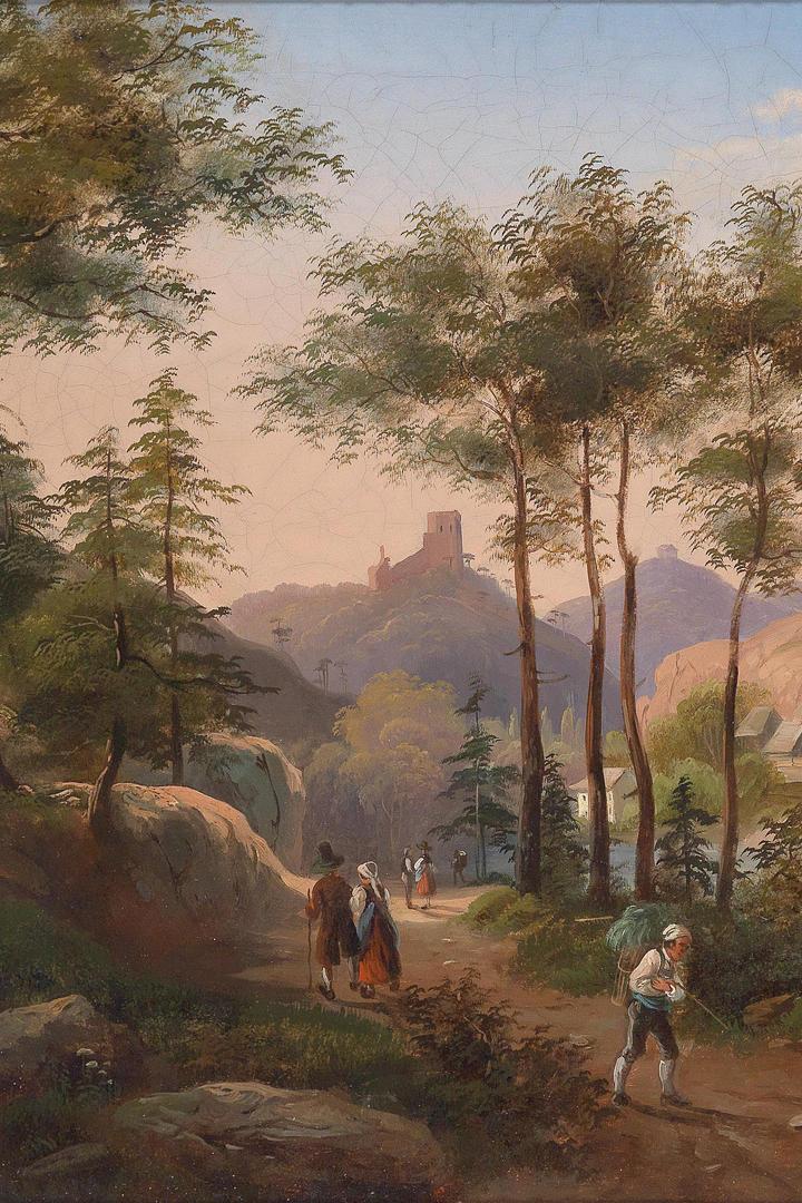 国外树林城堡乡村风景油画作品图片