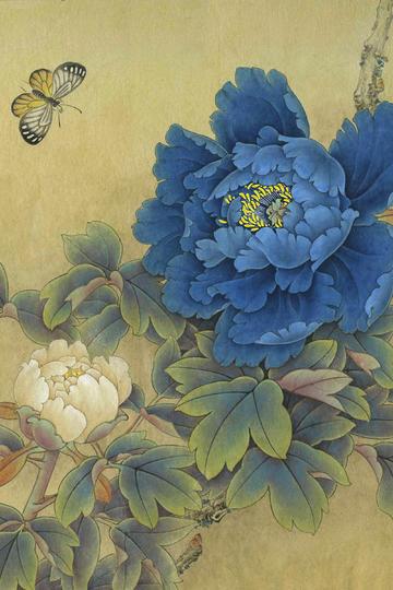 国画名家作品-蓝牡丹工笔国画图片