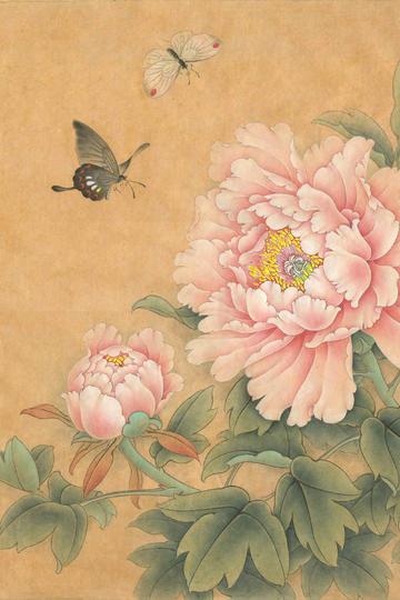 蝴蝶和牡丹花工笔国画图片