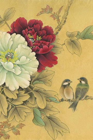 牡丹山雀-工笔花鸟国画图片大全