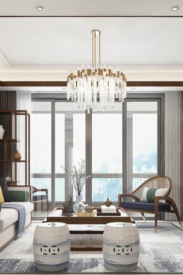 工笔画瓷凳装饰中式风格客厅装修效果图