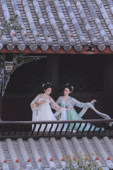 两个翩翩起舞的古装美女图片高清