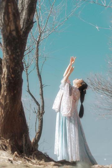树下起舞的古装美女图片