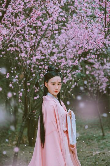 梅花树下古典古装美女艺术摄影图片
