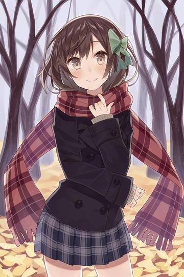 戴长围巾的日本美少女动漫图片