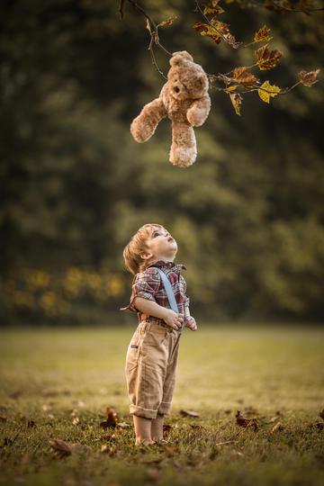 看着玩具熊的小男孩儿童摄影