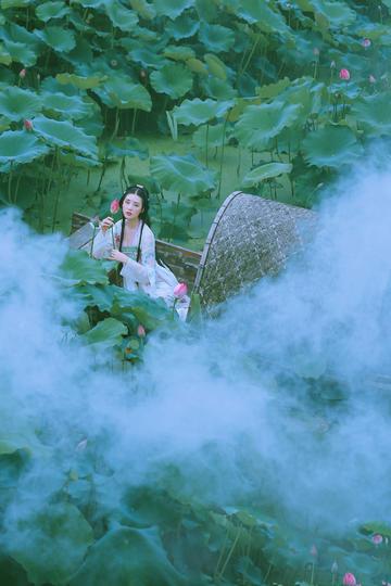 荷花池中小船上的古装美女图片