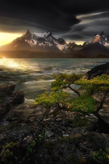 湖边唯美自然风景图片