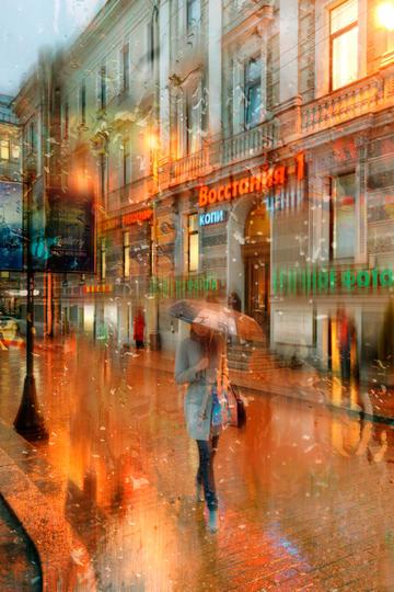 国外雨中的街道旅游景观图片