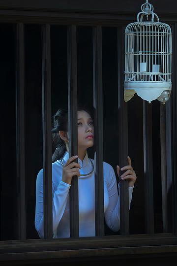 看着鸟笼的古装美女人像摄影图片