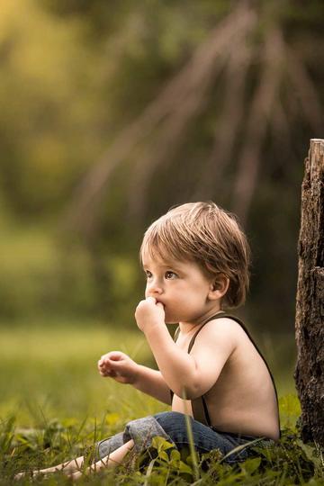 坐在树桩边的小男孩图片