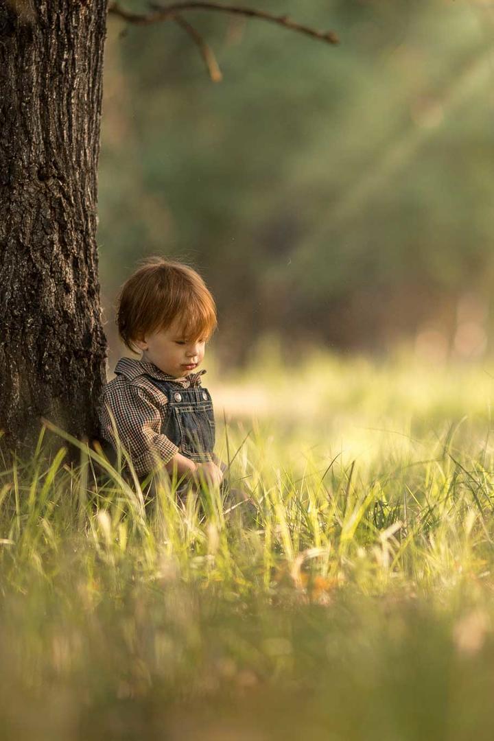 靠在树上的小男孩图片