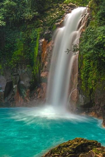 唯美森林中流淌的瀑布图片