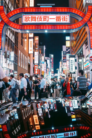 日本街头夜景图片