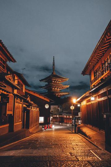 日本夜晚街道纪实摄影图片