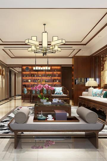 平层新中式客厅家装设计效果图