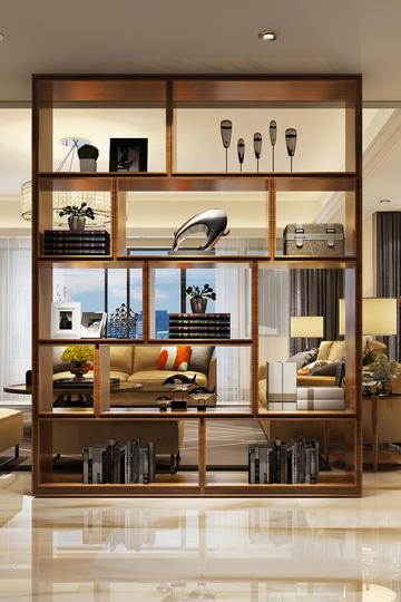 新中式客厅博物架书架家装设计效果图
