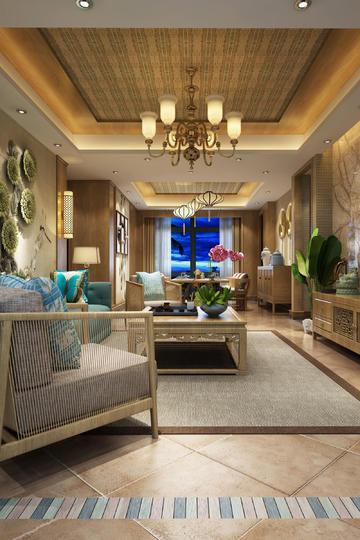 东南亚风格客厅家装设计效果图
