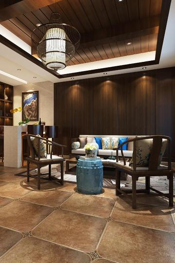 二居室客厅新中式家装设计效果图