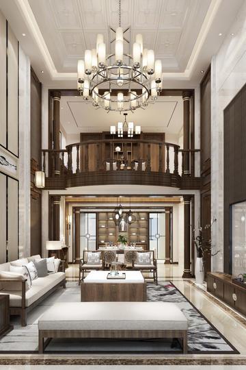 新中式别墅客厅家装设计效果图