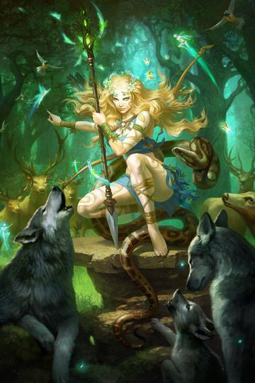 和白狼在一起的森林之王美女战士欧美科幻画动漫图片