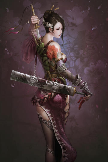 中国传统古典美女战士游戏原画图片高清图
