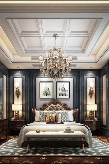 欧式豪华卧室家装设计效果图