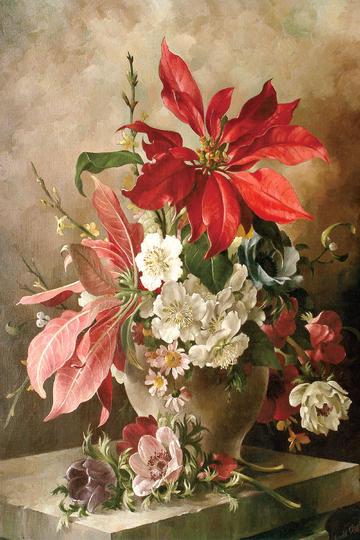 世界名画油画花卉绘画图片