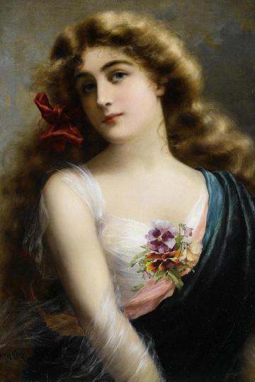 欧美金发美女人物肖像油画图片