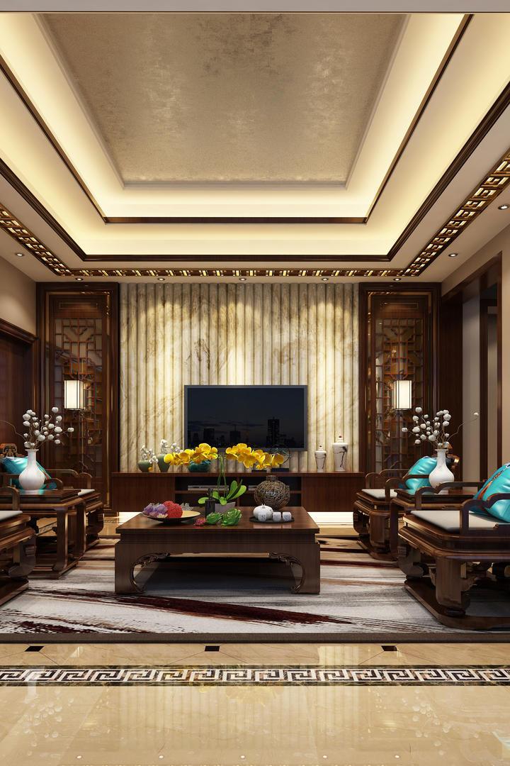 别墅客厅新中式家装设计效果图