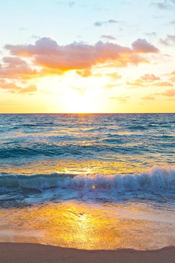 清新美丽海边夕阳风景图片