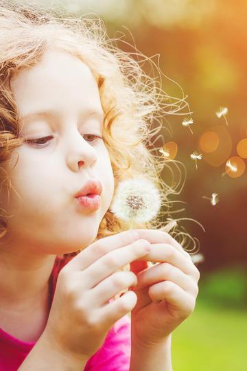 小女孩吹着蒲公英鲜花图片