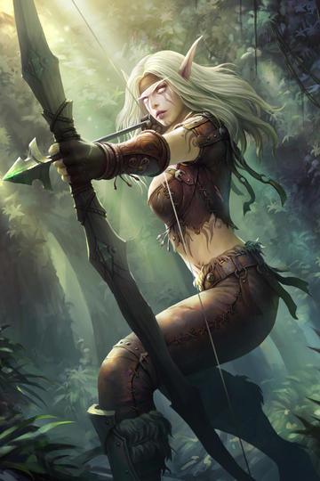 射箭的女战士欧美科幻画游戏原画动漫图片