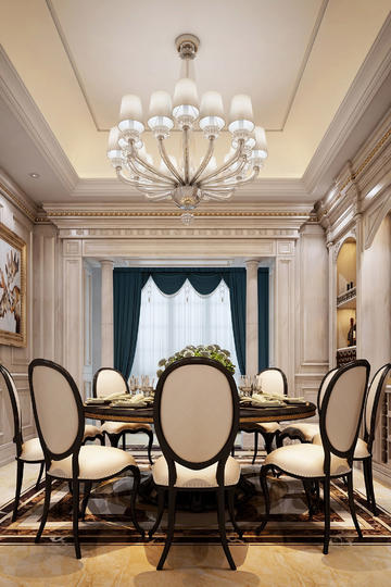 别墅豪华欧式餐厅家居装修效果图