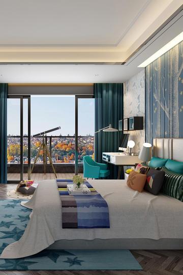 带阳台的主人卧室现代风格装修效果图