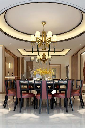 高清简约欧式圆桌客厅装修效果图片