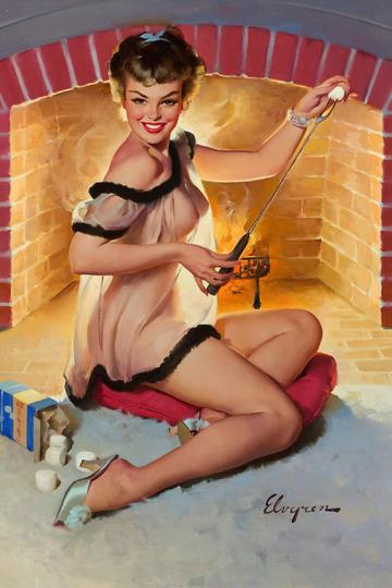穿睡衣坐在壁炉旁的美国丽人性感美女油画图片