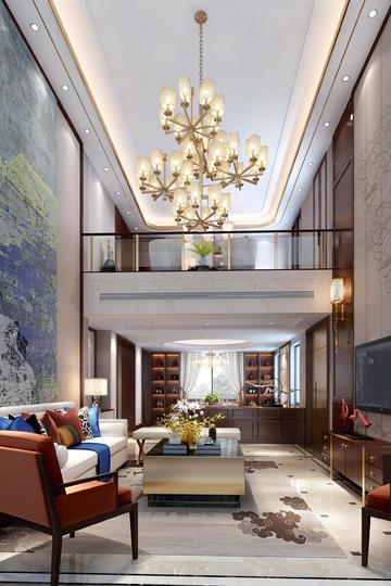 别墅挑高客厅现代轻奢装修效果图
