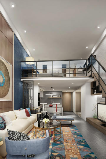 LOFT复式公寓精装客厅装修设计图片