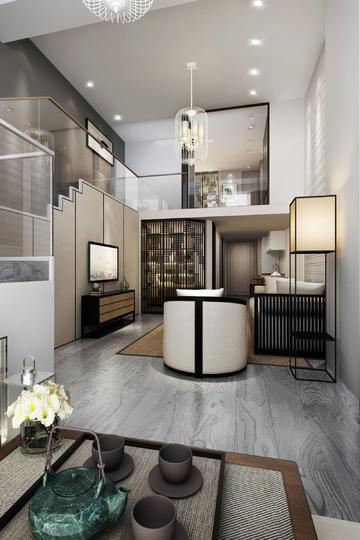 LOFT复式公寓客厅时尚现代装修效果图