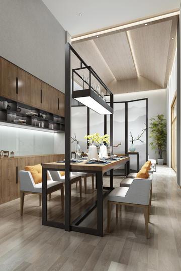 简约现代开放式厨房餐厅装修效果图