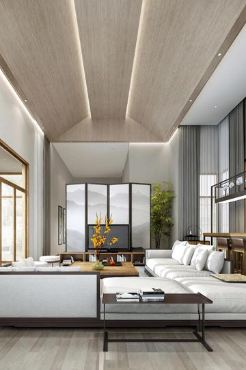 高清新中式客厅家装设计效果图大全