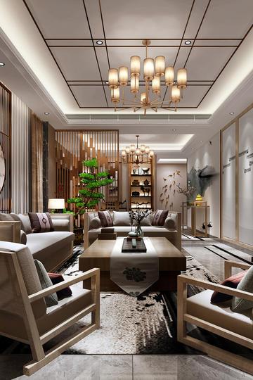 简约新中式客厅家装设计效果图