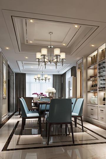 别墅轻奢欧式客厅家居装修效果图